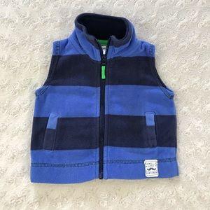Carter's Fleece Vest Blue Stripes Size 3 Months
